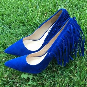 Very sexy suade blue velvet heels pumps shoes 👠